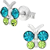 Sterling Silver Hypoallergenic Teal & Green Crystal Butterfly Stud Earrings for Girls (Nickel Free)