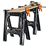 WORX Clamping Sawhorse Pair with Bar Clamps, Built-in Shelf and Cord Hooks - WX065