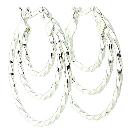 The Olivia Collection 925 Sterling Silver Triple Strand Hanging Creole Earrings