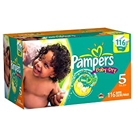 Pampers Baby Dry Diapers Economy Pack Plus, Size 5, 172 Count