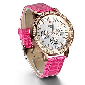 JewelryWe 3PCS Newest Bling Rhinestones Quartz Analog Leather Bracelet Wrist Watches for Girls Ladies Women