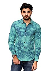 Rafters green and indigo blue check, full sleeves men's slim fit casual shirt