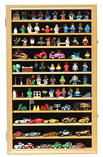 Hot Wheels Matchbox 1/64 scale Diecast Display Case Cabinet Wall Rack w/UV Protection (HW11-OAK) (Die Cast Display Case 1 64 compare prices)