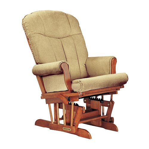 Shermag Deluxe Glider Chablis Finish With Honey Fabric