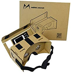 Google Cardboard Kit DIY 3D glasses by MINKANAK Virtual Reality Video Viewer Compatible with Android and Appple with Head Strap, NFC, Nose Pad, and Easy Instruction