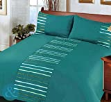 MODERN STRIPED Duvet Cover Poly Cotton Bedding Quilt Cover Ribbon Satin Bed Set Teal ( turquoise blue green silver white ) King Size Duvet Cover ( kingsize )