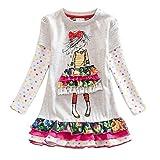 VIKITA 2017 New Kids Girls Cotton Flower Dress Long Sleeve Gray LH3660 6-7 Years