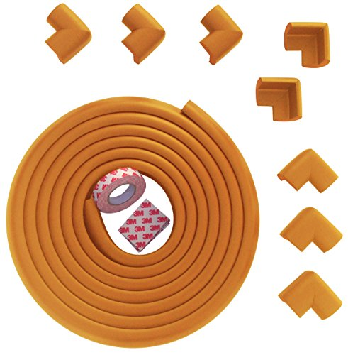 Premium Edge & Corner Guard From Bow-Tiger™ - Extra Long Value Pack 15ft (4.6m) Safe Edge + 8 Corner Cushion Bumpers - Wooden