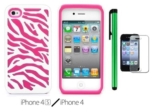 #>>  2 in 1 Plastic Outside / Silicone Inside Premium Zebra Design Protector Cover Case Compatible for Apple Iphone 4S / 4 (AT&T, VERIZON, SPRINT, T-mobile) + Screen Protector Film + 1 of New Metal Stylus Touch Screen Pen (White Plastic / Pink Silicone)