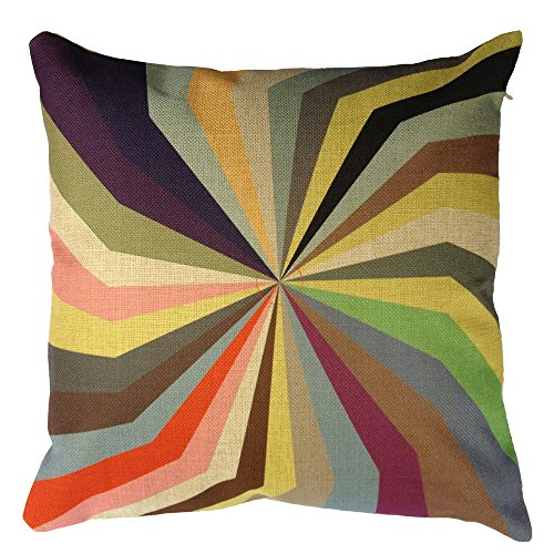 Buankoxy 18 Inch Cotton Linen Square Pillow Cover Decorative Cushion Case Pillowcase Rotary Rainbow front-976988