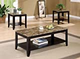 3pc Coffee Table & End Table Set Marble Top Espresso Finish