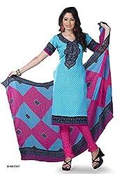 Sky Blue Crepe Dress Material - VD14132
