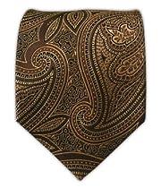 100% Silk Woven Brown Paisley Tie