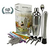 Premium Bar Set By SILVERgrade, Cocktail Shaker, Muddler, Strainer, Mixing Spoon, Double Jigger, Pourers, Stirrers and Over 50 Recipes (Pdf) - Martini Bar Set