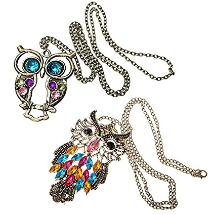 Amazing Value! Jewelry Set of 2 Long-Chain Vintage Bronze Owl Pendants Necklaces