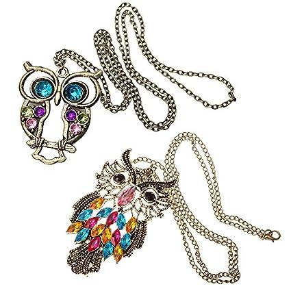Amazing Value! Jewelry Set of 2 Long-Chain Vintage Bronze Owl Pendants Necklaces