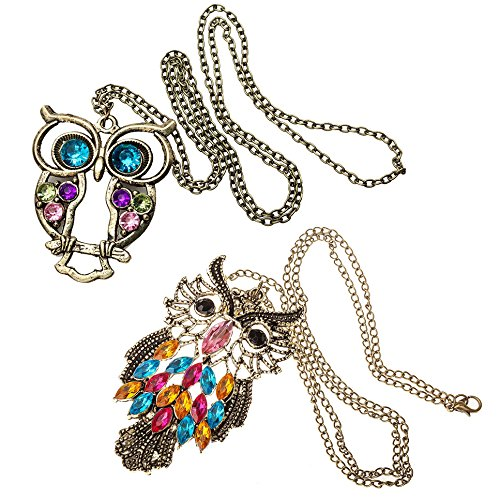 Amazing-Value-Jewelry-Set-of-2-Long-Chain-Vintage-Bronze-Owl-Pendants-Necklaces-By-VAGA