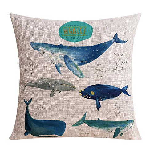 Ink Painting Blue Whale Marine Organisms Home Throw Pillow Case Personalized Cushion Cover NEW Home Office Decorative Square 18 X 18 Inches (2)