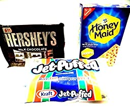 S\'mores Kit, Everything You Need, 2 PACKAGES OF HERSHEY\'S CHOCOLATE BARS (12 full size bars), 1 BAG OF KRAFT MARSHMALLOWS (10 oz bag), 1 BOX OF HONEY MAID GRAHAM CRACKERS (14 oz box).