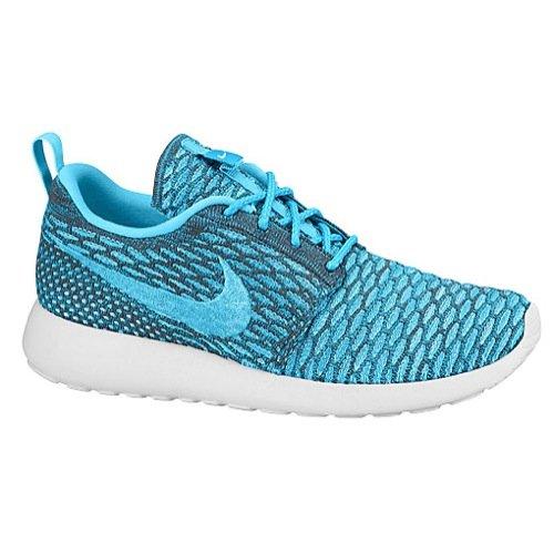 nike womens rosherun flyknit running trainers 704927 sneakers shoes (uk 6.5 us 9 eu 40.5, dark grey clear water blue legion white 003)