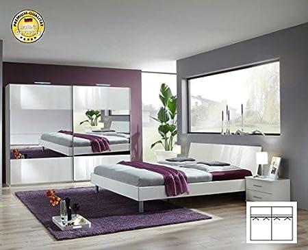 Komplett Schlafzimmer 2190 alpinweiß/ Spiegel Schwebeturenschrank 225cm, Bett 140x200cm