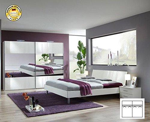 Komplett 2195 Schlafzimmer alpinweiß/ Spiegel Schwebetürenschrank 270cm, Bett 180x200cm günstig