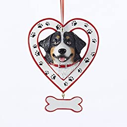 Kurt Adler 4.5'' Resin Bernese Mountain Dog IN Heart W/bone Ornament by Kurt Adler