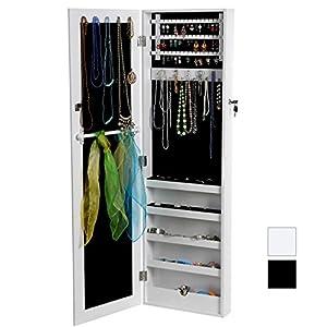 Songmics® 120 x 36 x 9,5 cm Armoire à bijoux Armoire murale Rangement avec Miroir et clés (Blanc) JBC24W