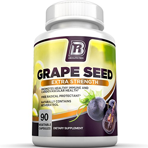 BRI Nutrition Grapeseed Extract - 95% Proanthocyanidins 400mg Servings - Strongest Standardized Extract On The Market - 90 Veggie Capsules (Natural Organic Grapeseed Extract compare prices)