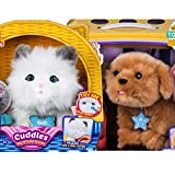 Little Live 1 Puppy, 1 Kitty, Snuggles and Cuddles, My Dream Puppy Bundle, Perfect Gift Set with To/From Mini Card & Envelope, Pets Interactive Realistic, like real live Allergy free pets for kids (Color: White, Gray, Grey)