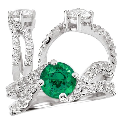 18K Elite Collection Chatham Lab-Created 6.5Mm Round Emerald Engagement Ring With Twisted Diamond Band