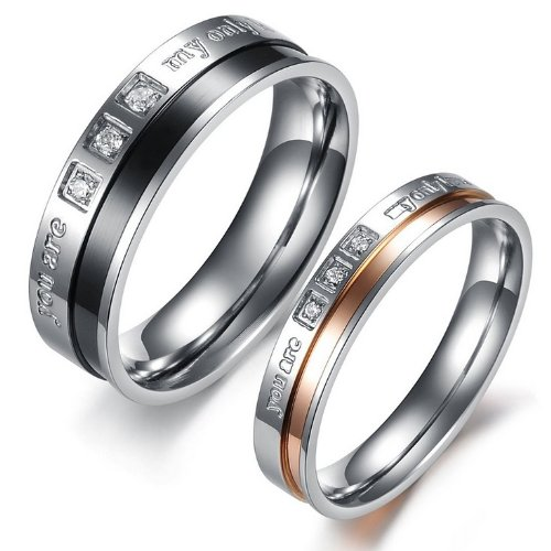 JewelryWe New His 6MM & Hers 4MM Titanium Stainless Steel Cz