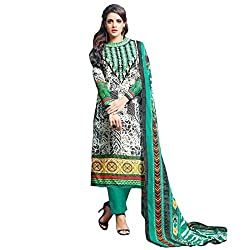 Multicolor & Green Embroidered Chanderi Cotton Dress Material