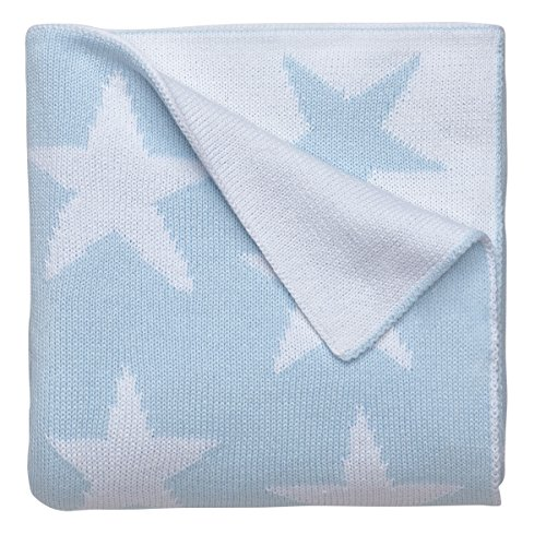 Elegant Baby, 100% Cotton, Tightly Knit Star Blanket, 30 x 40 Inch in Baby Blue and White