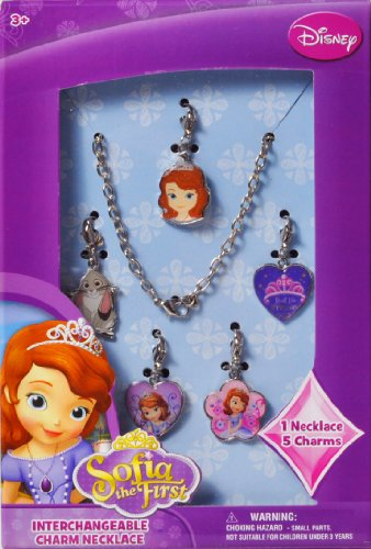 Sofia the First Disney Princess Interchangeable Charm Necklace Jewelry Gift Set with Necklace and 5 Charms