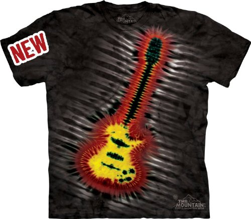 Mountain Tie-Dye Electric Guitar Adult Size T-Shirt , Black , Large