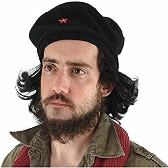 Che Beret with Faux Hair - Adult Std., Black