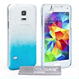 Yousave Accessories Samsung Galaxy S5 Mini Case Blue / Clear Raindrop Hard Cover