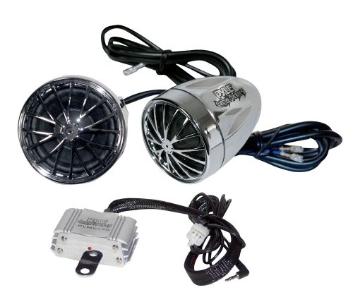 Pyle Super Motorcycle/Atv/Snowmobile Mount Amplifier Package - Plmca30 400W Amplifier W/Dual Handle-Bar Mount Weatherproof Speakers W/Mp3/Ipod Input + Pwpe10W Waterproof Marine Headphones Earbuds Compatible W/ Mp3 Players & Ipods (White Color).