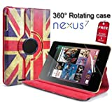 2nd Generation 2013 Nexus 7 Retro Vintage Union Jack PU Leather Wallet Flip Case Cover for The New Asus Google Nexus 7 360 Degree Rotation Full Sleep Wake Function ! Free Screen Protector Free Shipping