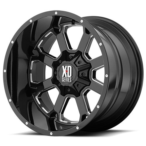 XD Series by KMC Wheels XD825 Buck 25 Gloss Black Wheel with Milled Accents (20x14