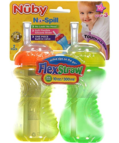 Nuby-2-Pack-10-oz-No-Spill-Flexi-Straw-Cup