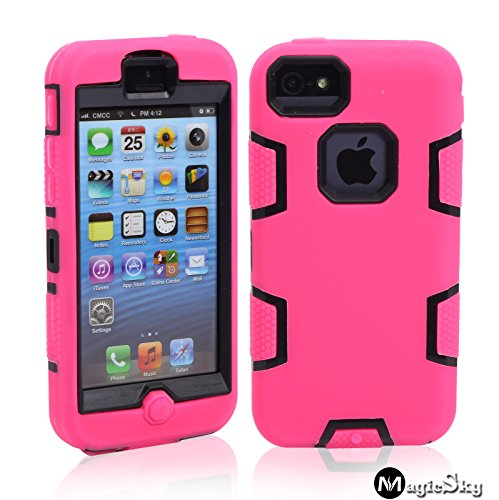 5C Case, Iphone 5C Case Cover, Magicsky Full Body Hybrid Impact Shockproof Defender Case Cover For Apple Iphone 5C, 1 Pack(Black/Hot Pink)