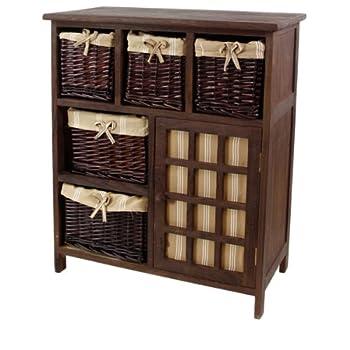 Pas cher meuble en bois panier osier et lin 5 tiroirs et for Meuble a tiroir en osier
