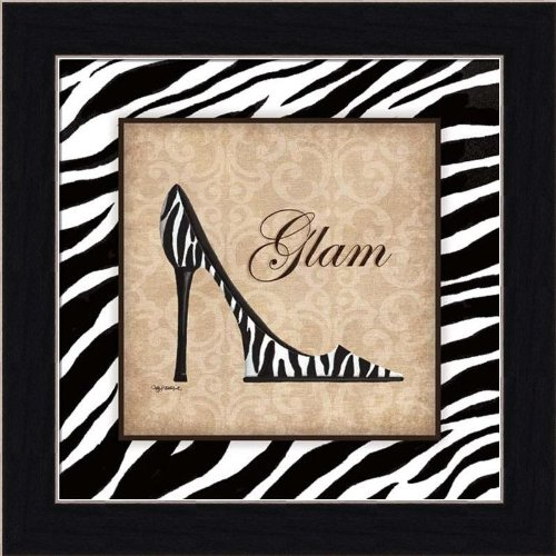 Glam by Kathy Middlebrook Zebra High Heel Art Print Picture Framed (Pictures Of High Heels compare prices)