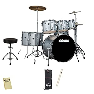 ddrum D2 7-Piece Drum Set Kit - Includes: Throne, Cymbals, Drumsticks & Cloth by GO-DPS