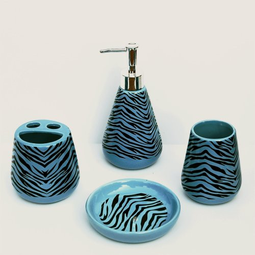 4 Piece Bathroom Ceramic Accessory Set: Lotion/Liquid Soap Dispenser, Tumbler, Toothbrush Holder, Soap Dish: Blue & Black ZEBRA