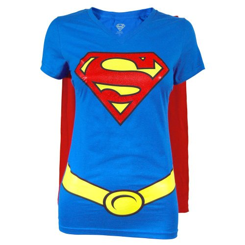 Supergirl Juniors Royal V-neck Cape Tee
