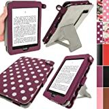 IGadgitz Polka Dots 'Bi-View' PU Leather Case Cover for Amazon Kindle Paperwhite - Purple/White
