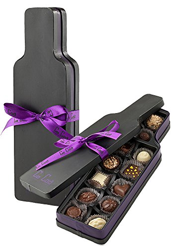 CoCoa Confection Black/Purple, Chocolate, Connoisseur's Specialty-Wine Bottle Milk Gift Box, 5 Ounce